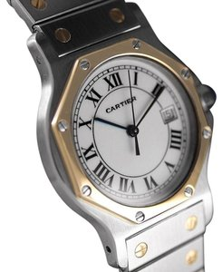 Cartier Cartier Santos Octagon Mens (Midsize) Quartz Watch - Stainless Steel & 18K Gold