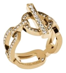 Michael Kors Cityscape Link Pave Gold-Tone Chain-Link Ring MKJ4877 710 Size 6