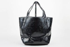 ALAÏA Alaia Snakeskin Leather Tote in Black