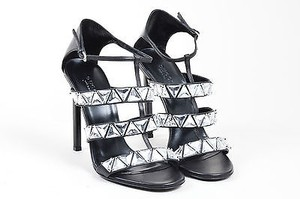 Gucci Leather Crystal Embellished Caged Black Sandals