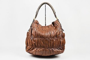 Prada And Green Nappa Leather Gaufre Ruched Sacca Hobo Bag