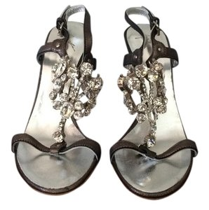 Giuseppe Zanotti Crystal Leather Gunmetal Grey Sandals