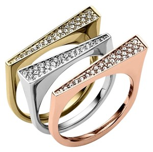 Michael Kors w/BONUS Box/Pouch Set-Stackable Tri-Tone Rings