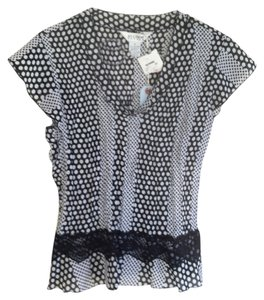 Allison Taylor New Polka Dots Top Black & White
