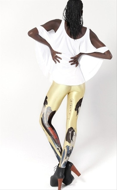 Black Milk Clothing Museum Print Spandex yellow Leggings