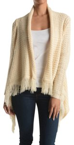 Belle B White Asymmetrical Crochet Fringe Sweater Cardigan