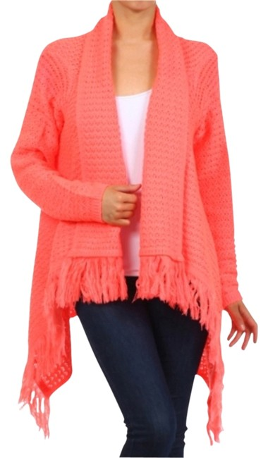 Preload https://img-static.tradesy.com/item/12251011/neon-pink-women-s-asymmetrical-crochet-fringe-sweater-s-m-l-cardigan-size-8-m-0-1-650-650.jpg