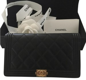 Chanel Chanel Quilted Lambskin Boy Black GHW Wallet