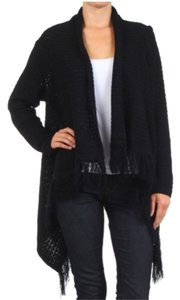 Belle B Asymmetrical Crochet Fringe Sweater Cardigan