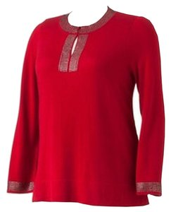 Dana Buchman Embellished Rhinestone Top Red