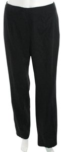 Piazza Sempione Exclusive Structured Evening Wool Italian Straight Pants Black