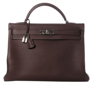 Herms Dark Brown Kelly 40 Satchel