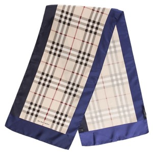 Burberry Blue, beige, multicolor Burberry signature monogram plaid print silk large scarf New
