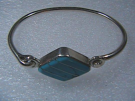 Mexico Silver Sterling Silver Turquoise Oval Shaped Bangle Image 7