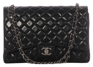 Chanel Black Maxi Classic Double Flap 2011 Quilted Lambskin Silver Hardware Ch.k0115.05 Shoulder Bag