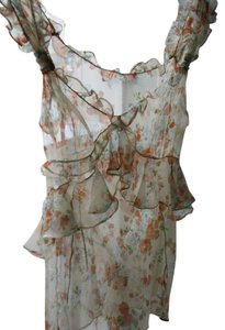 Dolce&Gabbana Romantic Boho Bohemian Top sheer ivory and floral