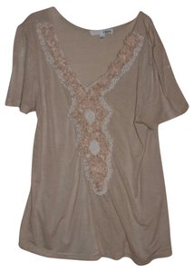 Lapis Embellished T Shirt Tan and White