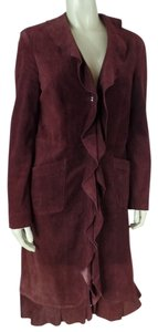 Suede Leather Small Ruffle Burgundy Leather Jacket