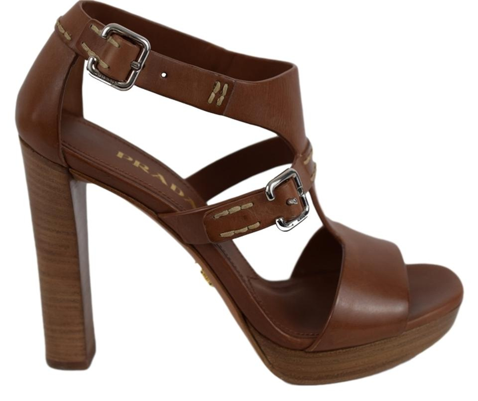 cb3171efe5a Prada Brown Women s Leather Stacked-heel Sandals Pumps Size US 7 ...