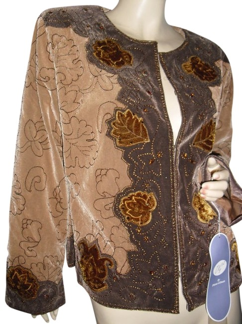 Item - Beige In Faux Suede Appliqued Embroidered Jacket @ Fashionista Style Boutique Blazer Size 8 (M)