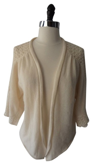 Item - Ivory Cream Cashmere Open Work Knit Wide Sleeves Cardigan Size 8 (M)
