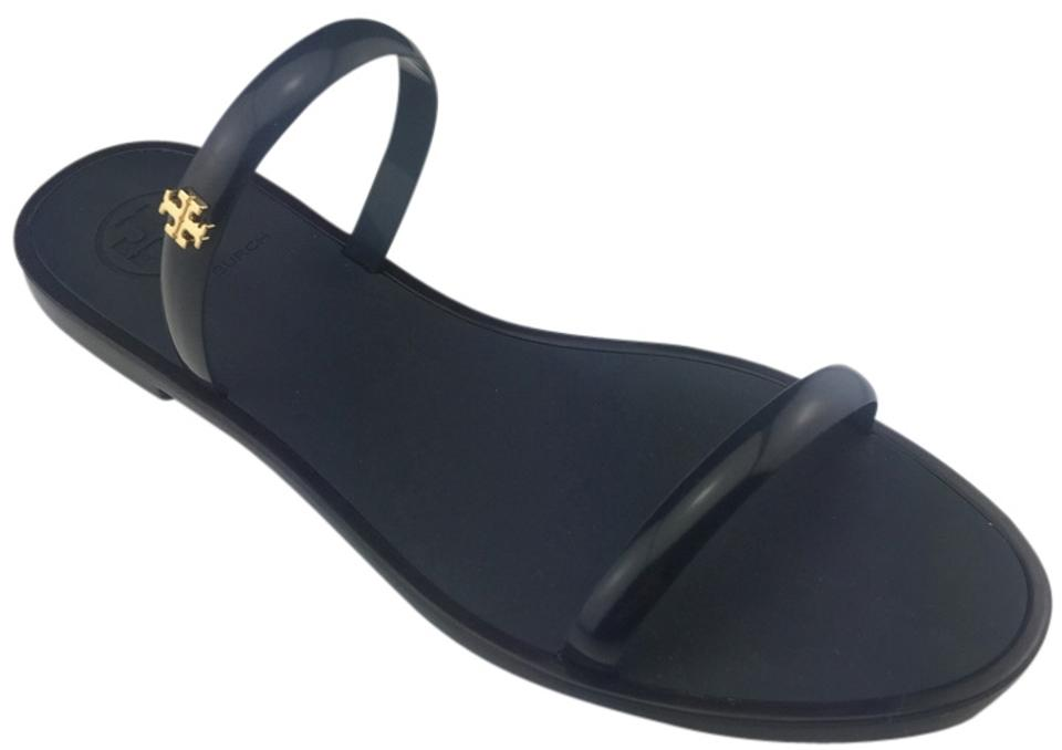 f9ca27cd0113 Tory Burch Navy In Box Two Band Jelly Slide Shiny Tpu Flat Rubber Gold Logo  Sandals