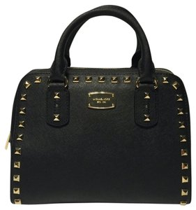 Michael Kors Small Studded Leather Satchel in Black