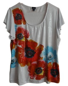 Rafaella T Shirt White with flowered sequins