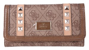 Guess * Guess Brown Coated Canvas Leather Studded Wallet