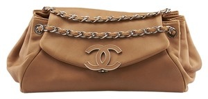 Chanel Acoordion Lambskin Tan Shoulder Bag