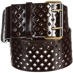 Saint Laurent YSL Yves Saint Laurent Brown Patent Perforated Crucifix Leather Belt