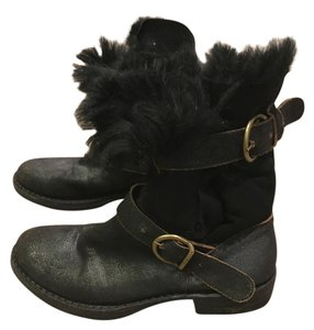 Fiorentini + Baker Shearling Leather Boho Comfortable Ankle Buckle Brown Boots