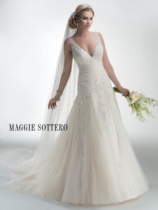 Maggie Sottero Lt Gold Selma Feminine Wedding Dress Size 12 (L)
