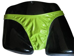 Deborah Marquit Deborah Marquit Faux Leather Patent vinylThong panty underwear lime green