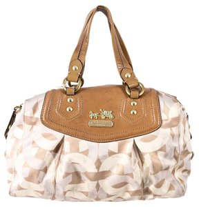 Coach Monogram Cream Leather Shoulder Bag