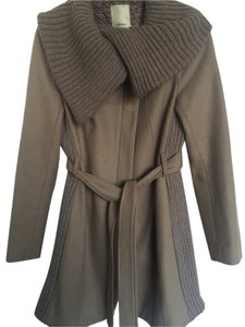 Anthropologie Wool Cowl Neck Collar Trench Coat