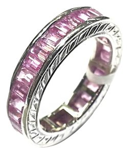 DeWitt's Eternity Ring With 4.13 Carats Total Weight Pink Sapphires in 18 Karat White Gold
