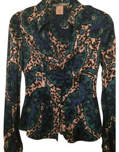 Marciano Corset Paisley Damask Silk Top Blue teal black white