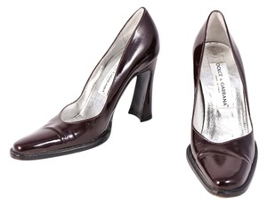 Dolce&Gabbana Dolce & Gabbana Patent Leather Chunky Heel Brown Pumps