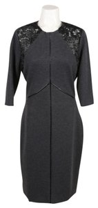 Kevan Hall Gray Wool Leather Dress