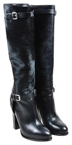 Ralph Lauren Collection Pony Hair Leather Heeled Knee High Black Boots