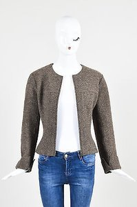 Chanel Wool Textured Ls Cuffed Zipped Wbelted Pouch Brown Jacket