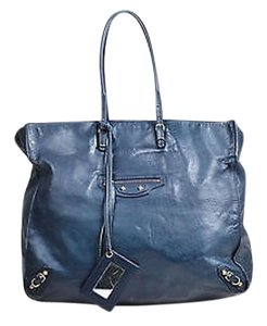 Balenciaga Black And Dark Tote in Blue