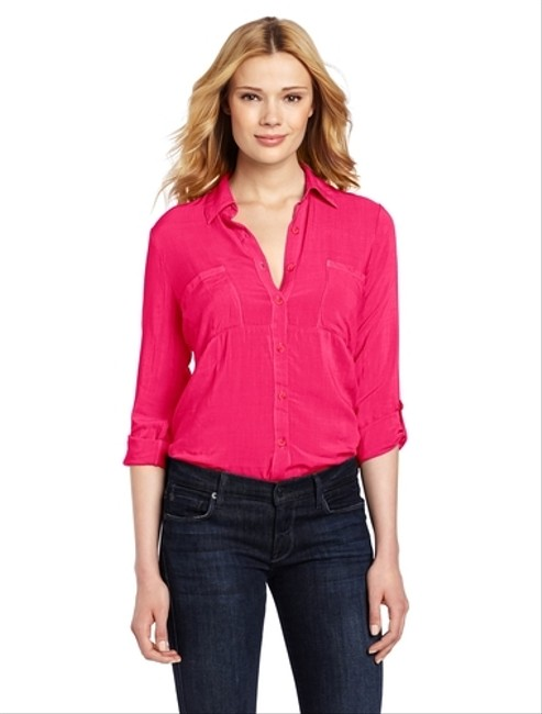 Splendid Button Up Chic Business Casual Top Pink