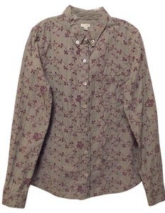 Odille Anthropologie Button Down Button Down Shirt Black and White with Purple Embroidery