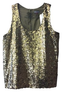 Vince Camuto Gold Sequins Moss Netting Heavy Gold Zipper Wear With Dress Pant Or Jeans Top