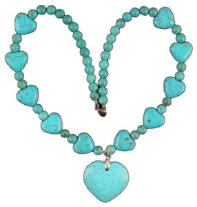 Valentine Howlite Turquoise Heart Shapes Necklace