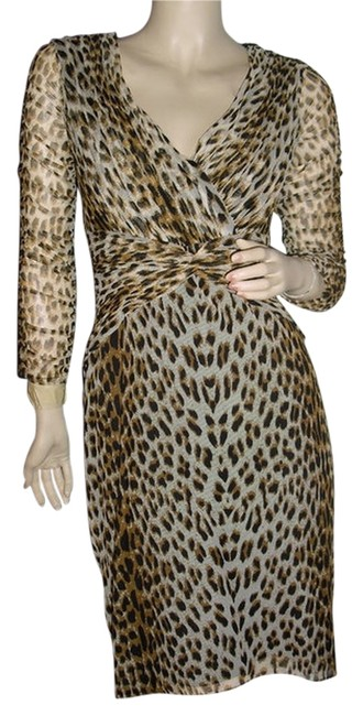 Item - Black and Beige Leopard Cheetah Print Collection Ruched Fashionista Style Boutique Knee Length Work/Office Dress Size 6 (S)