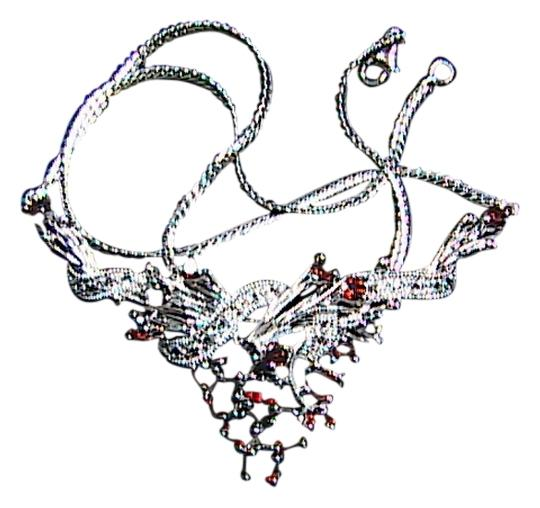 Unknown Cluster Sterling Silver Garnet and Clear Stone Necklace