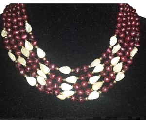Freshwater Faceted Burgundi Pearl & Mother Of Pearl Necklace